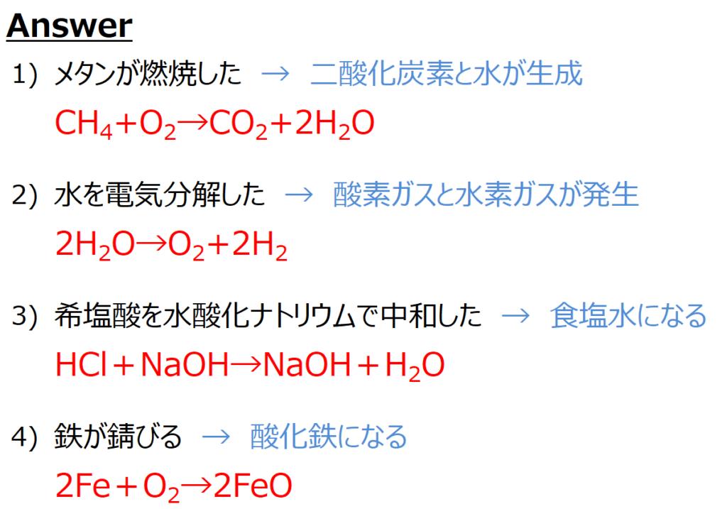 式 中 和 反応 化学式の練習問題【中学2年理科】