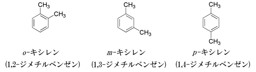 キシレンの構造異性体3種類